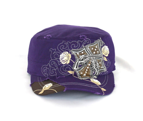 Savana Purple 100% Cotton Ladies Purple Hat Pistols Cross