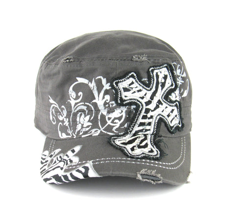 Savana Grey 100% Cotton Ladies Grey Hat Large Cross Zebra