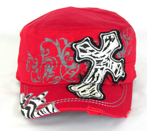 Savana Red 100% Cotton Ladies Red Hat Large Cross Zebra