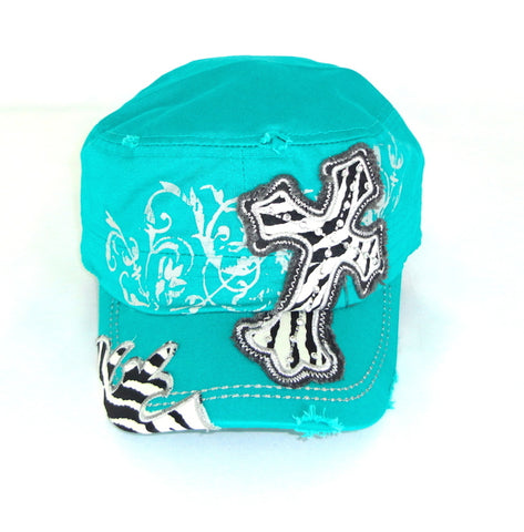 Savana Turquoise 100% Cotton Ladies Turquoise Hat Large Cross Zebra