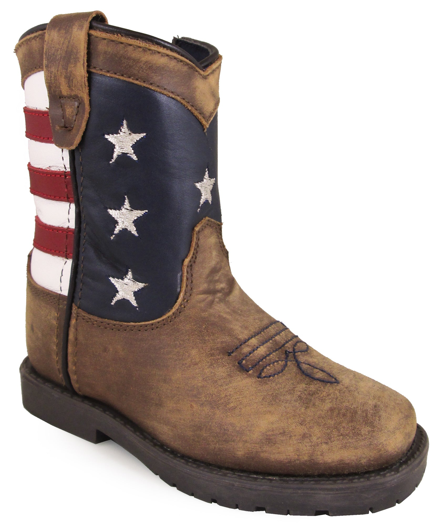 a2d08a5a2d8 Smoky Mountain Toddler Boys Stars And Stripes Brown Leather Cowboy Boots