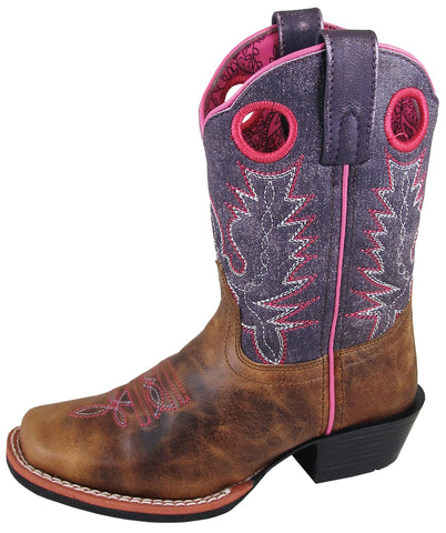 Smoky Mountain Childrens Girls Ellie Vintage Purple Leather Cowboy Boots