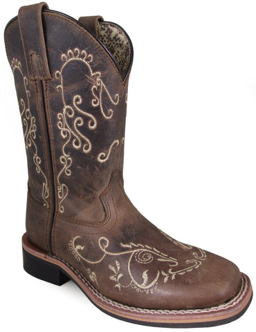 Smoky Mountain Youth Girls Marilyn Brown Leather Cowboy Boots 4 D