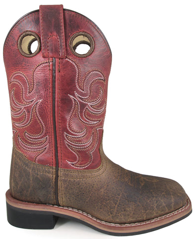 Smoky Mountain Youth Boys Jesse Burnt Apple/Brown Leather Cowboy Boots