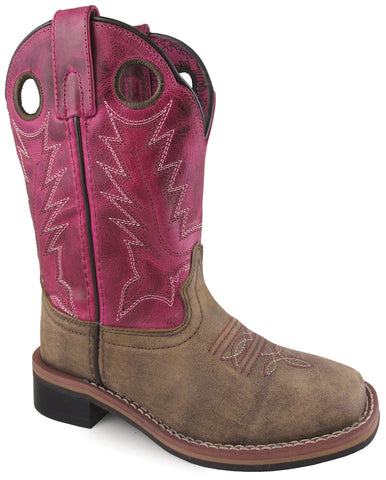 Smoky Mountain Youth Girls Tracie Brown/Pink Leather Cowboy Boots