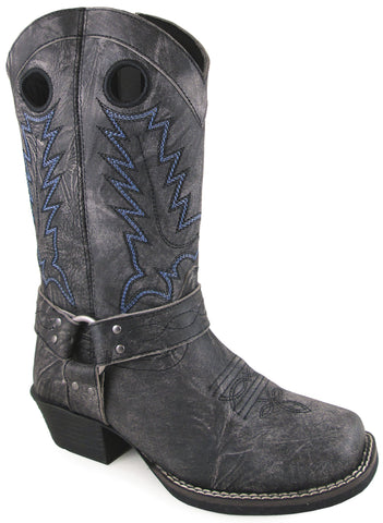Smoky Mountain Youth Boys Redwood Distress Black Leather Cowboy Boots