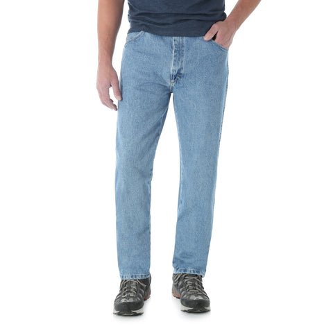 Wrangler Mens Rough Wash 100% Cotton Classic Fit Jeans