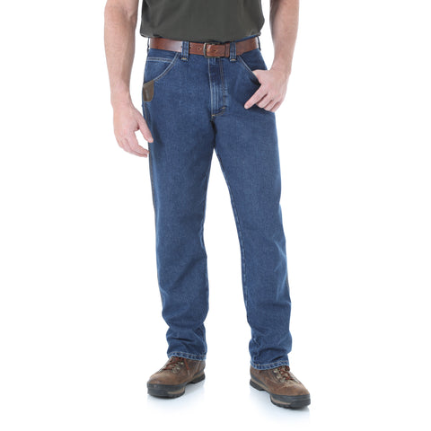 Wrangler Riggs Workwear Mens Dark Stone Cotton Blend Five Pocket Jeans