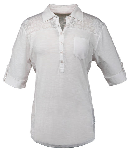 Outback Trading Co Raleigh Tee Ladies S/S White Cotton Blend Henley Scroll