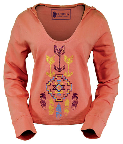 Outback Trading Co Wind Hoodie Ladies Coral 100% Cotton Southwestern