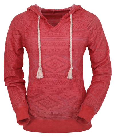 Outback Trading Co Bohemian Burnout Womens Hoodie Coral Cotton Blend