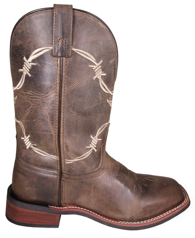 Smoky Mountain Mens Logan Wax Distress Brown Leather Cowboy Boots