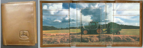 John Deere Mens Tan Leather Tractor Trifold Wallet