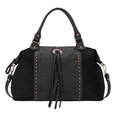 American West Cow Town Convertible Satchel Black Leather