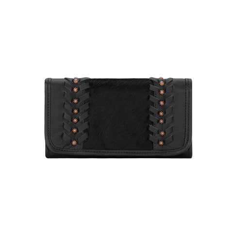 American West Cow Town Tri-Fold Wallet Black Leather