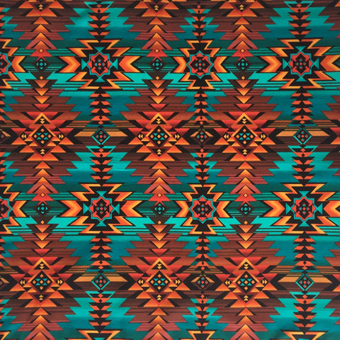 Rockmount Turquoise 100% Cotton Native Print 22x22 Bandana