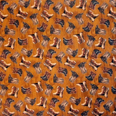 Rockmount Brown 100% Cotton Boots Print 22x22 Bandana