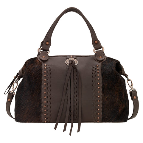 American West Cow Town Convertible Satchel Chocolate Leather