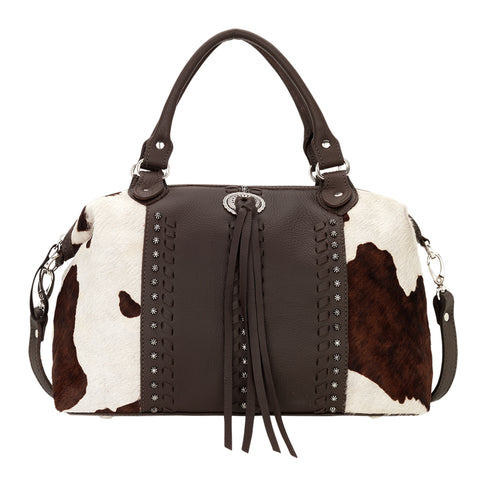 American West Cow Town Convertible Satchel Chocolate Leather Pony Hair