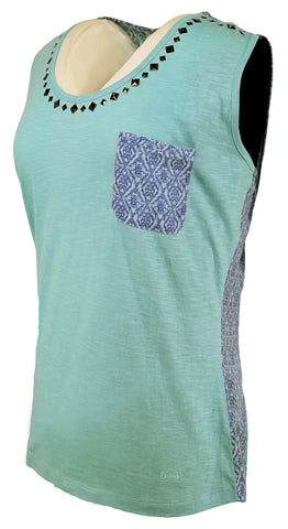 Outback Trading Co May Shirt Ladies S/L Tank Sky Blue 100% Cotton Chiffon