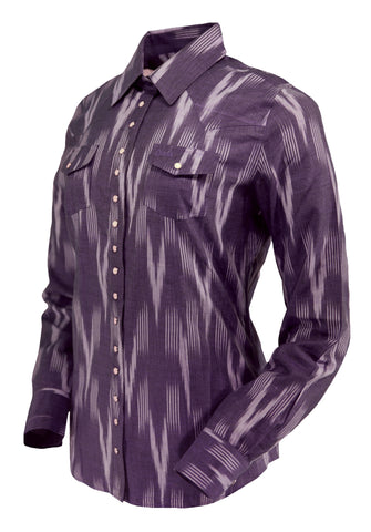 Outback Trading Co Marley Shirt Womens L/S Lilac 100% Cotton Western Ikat