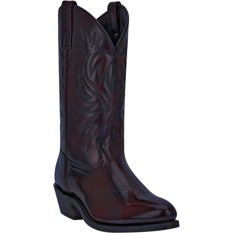 Laredo Mens London Cowboy Boots Leather Black Cherry