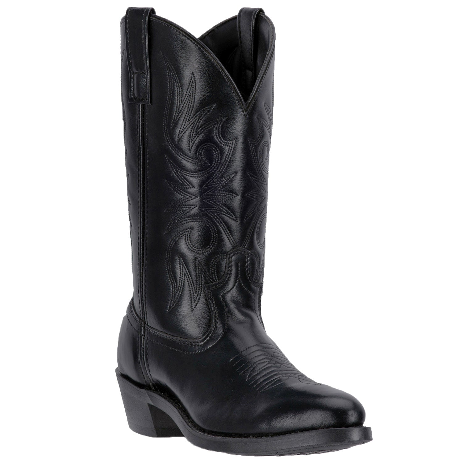 Laredo Mens Black Leather Paris 12in R Toe Embroidered Cowboy Boots