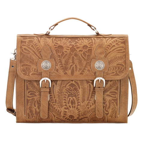 American West Stagecoach Natural Tan Leather Laptop Briefcase