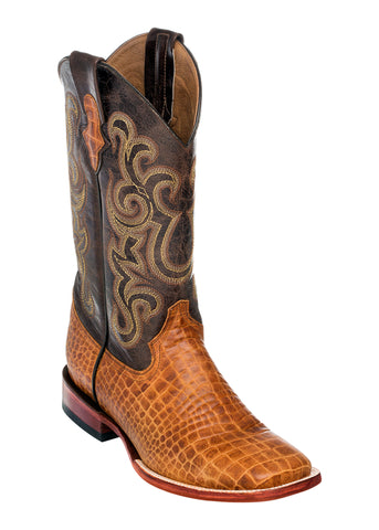 Ferrini Mens Honey Caiman Belly Print S-Toe 13in Cowboy Boots