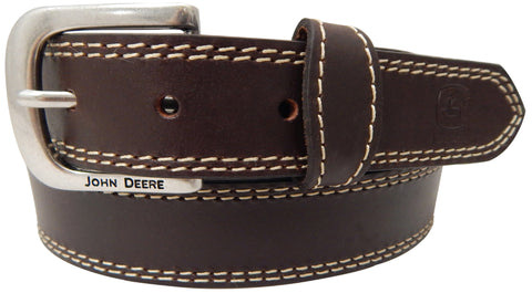 John Deere Boys Brown Leather Top Grain Buffalo Belt