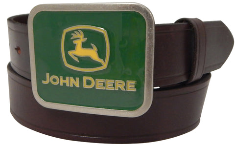 John Deere Boys Brown Leather Green Plaque Belt