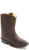 Old West Brown Toddlers Boys Distress Leather Roper Sole Cowboy Boots