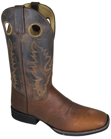 Smoky Mountain Boots Mens Luke Brown Distress Leather Square Toe