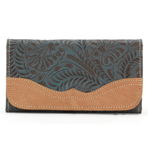 American West Birds of a Feather Tri-Fold Wallet Floral Turquoise Tan Leather