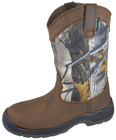 Smoky Mountain Boots Mens Brushfield Camo Crazy Leather WP Steel Toe