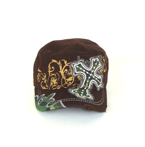 Savana Brown 100% Cotton Ladies Brown Hat Large Cross Camo