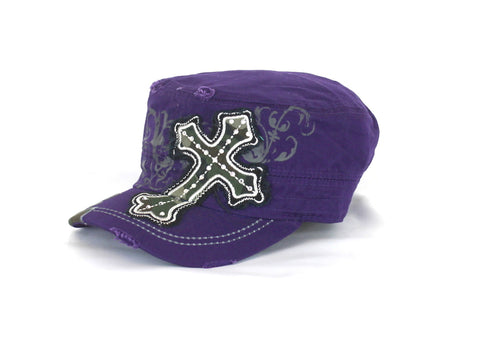 Savana Camo Cross Purple 100% Cotton Army Cap