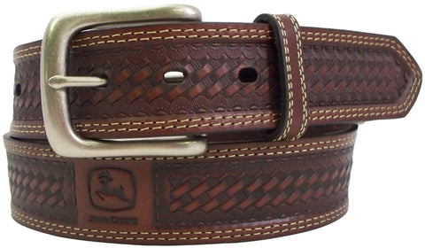 John Deere Mens Tan Bridle Leather Basketweave Belt