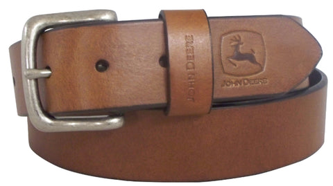John Deere Mens Brown Bridle Leather Oiled Tan Belt