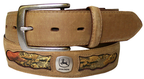 John Deere Mens Tan Leather Crazy Horse/Camo Belt