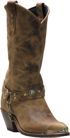 Sage Womens Tan Leather 11in Distressed J-Toe Cowboy Boots