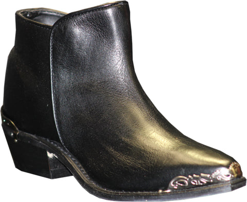 Sage Womens Black Leather Distressed Demi Ankle Boots