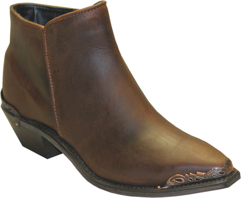Sage Womens Brown Leather Distressed Demi Ankle Boots