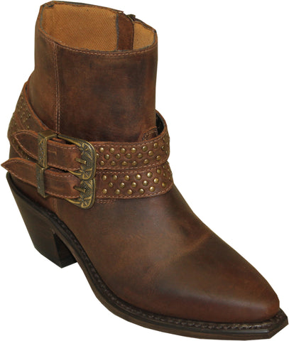 Sage Womens Dakota Leather 6in Double Buckle Ankle Boots