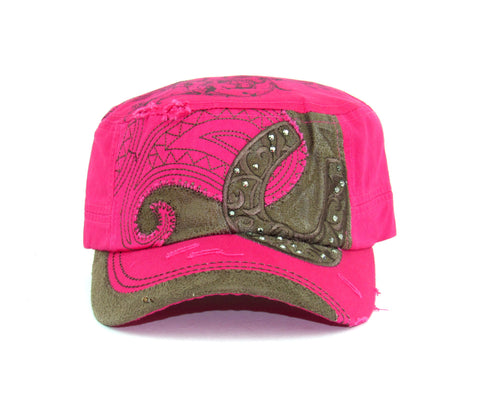Savana Hot Pink 100% Cotton Ladies Hot Pink Hat Horseshoe Suede