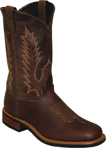 Sage Mens Antiqued Brown Leather 11in Stockman Cowboy Boots