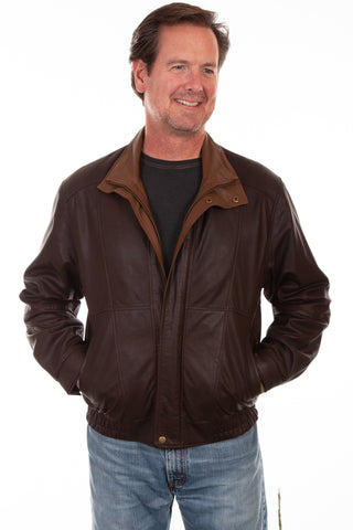 Scully Mens Chocolate/Cognac Leather Bomber Jacket