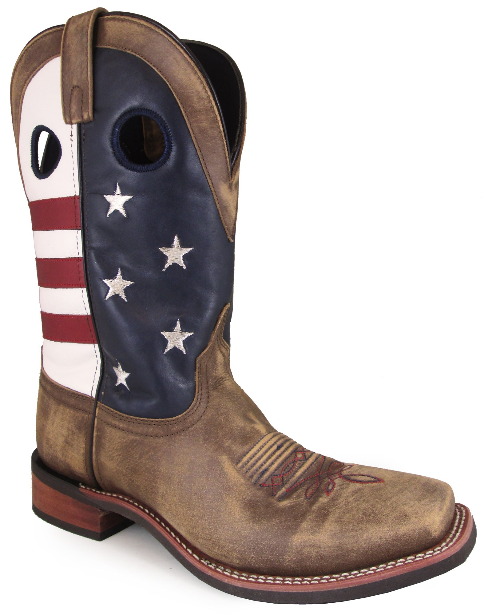 35c48f7a7fd Smoky Mountain Mens Stars And Stripes Vintage Brown Leather Cowboy Boots