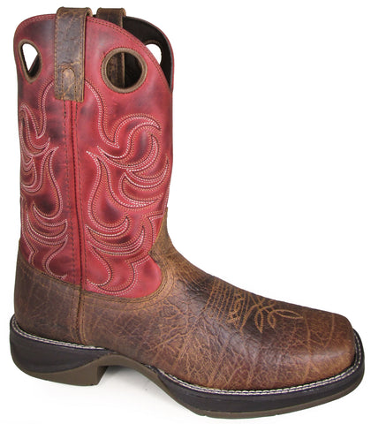 Smoky Mountain Mens Benton Brown/Burnt Apple Leather Cowboy Boots