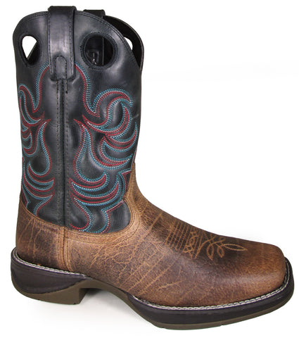 Smoky Mountain Mens Benton Brown/Black Leather Cowboy Boots